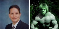 Photo composite of Professor Maule and the Hulk