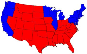 Red Blue Map for 2004 election