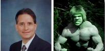 Photo composite of Professor Maule and the Hulk